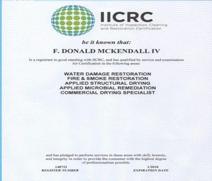 Donald McKendall Earns Another Certification from the IICRC
