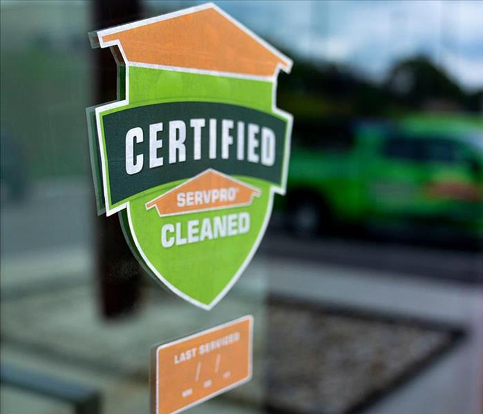Certified SERVPRO Clean Decal on window